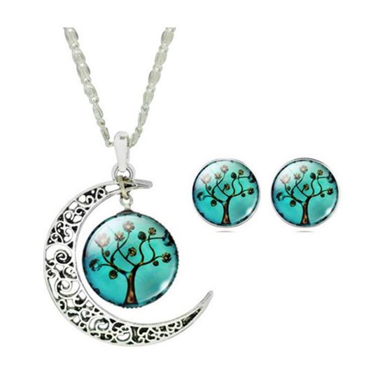 2-dielny set šperkov Strom života azúrový (prívesok, náušnice)