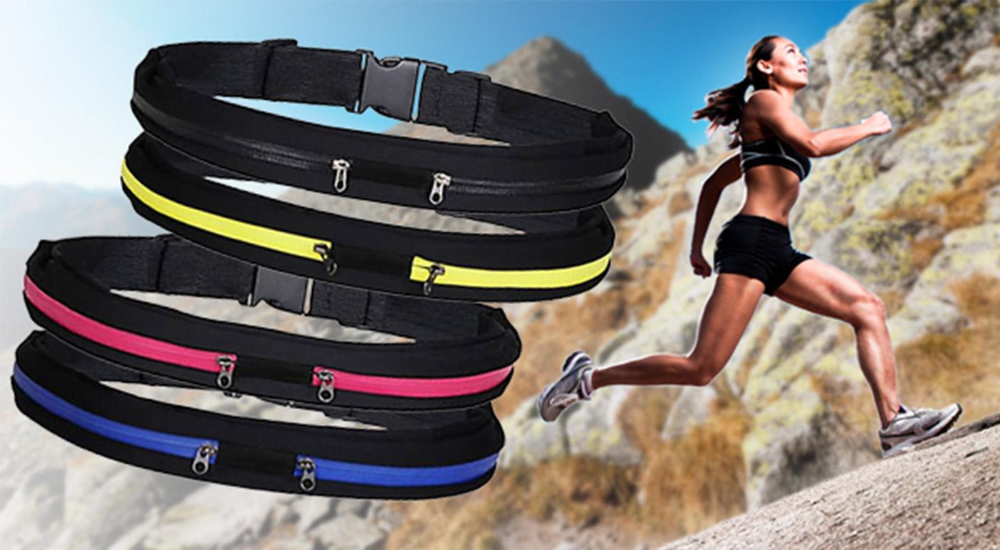 Praktický a trendy športový pás s dvoma úschovnými priestormi - na výber v 4 farbách