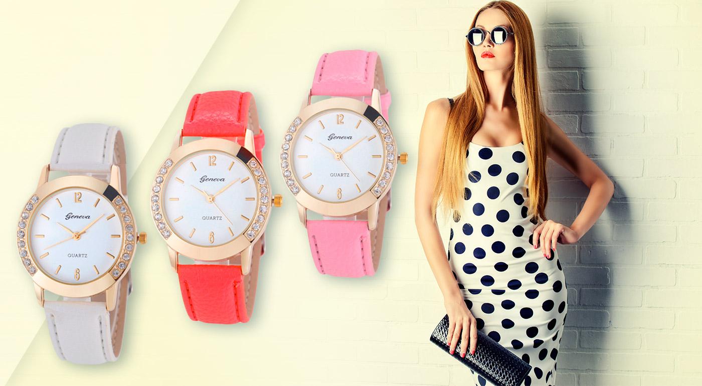 Dámske hodinky Geneva Diamond - na výber 10 farieb