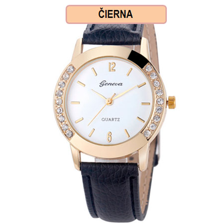 Dámske hodinky Geneva Diamond - čierna farba