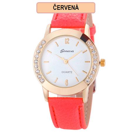 Dámske hodinky Geneva Diamond - červená farba