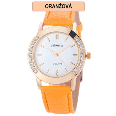 Dámske hodinky Geneva Diamond - oranžová farba