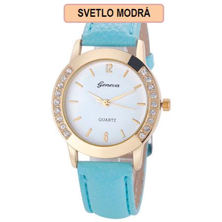 Dámske hodinky Geneva Diamond - svetlo modrá farba