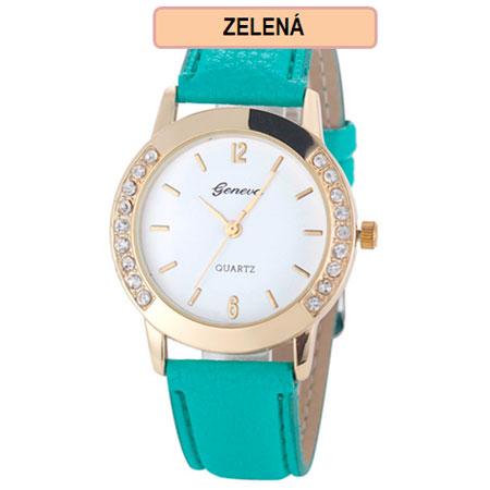 Dámske hodinky Geneva Diamond - zelená farba