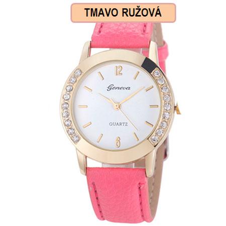 Dámske hodinky Geneva Diamond - tmavo ružová farba