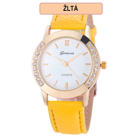 Dámske hodinky Geneva Diamond - žltá farba