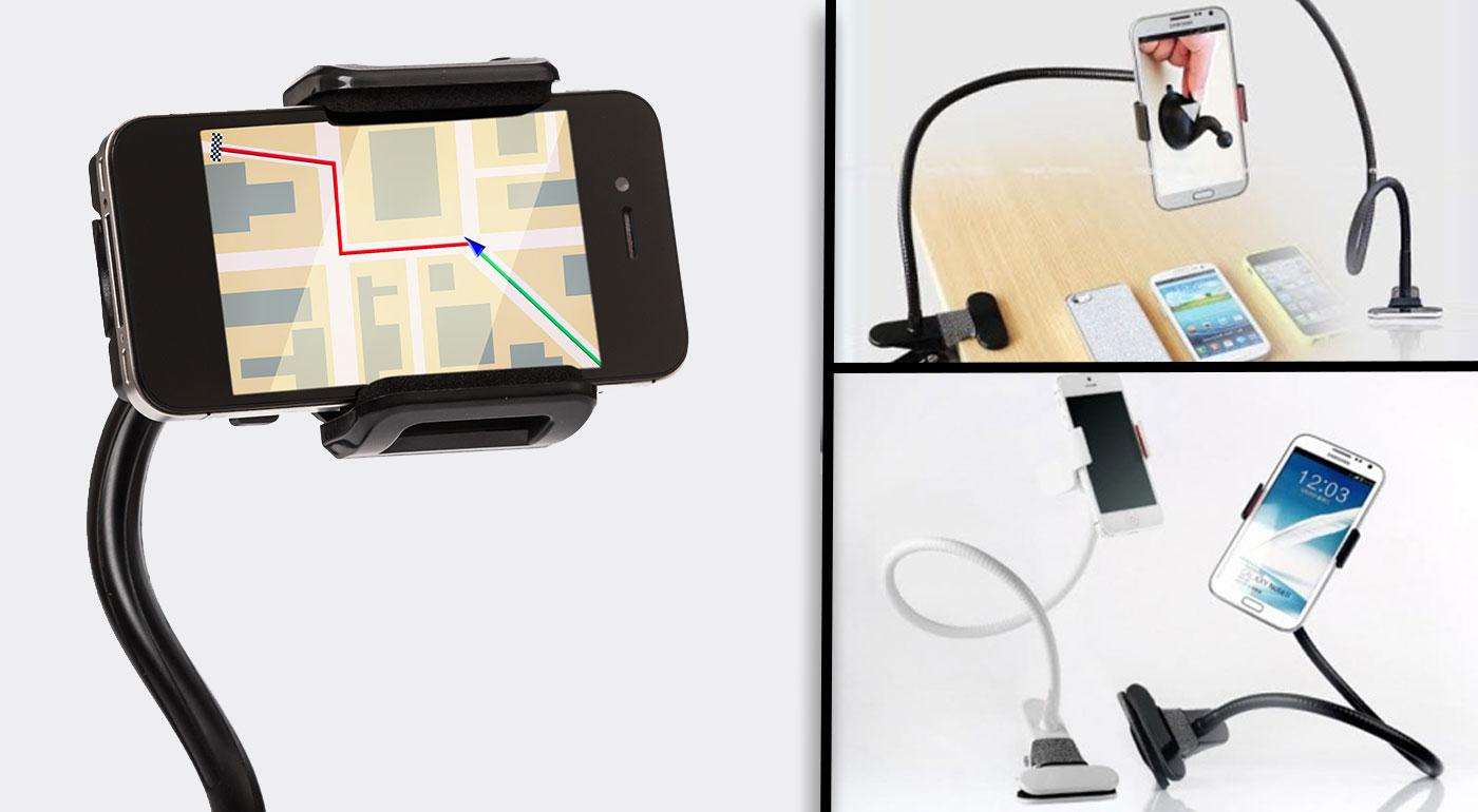 Univerzálny držiak na mobilný telefón s extra dlhým ramenom a úchytom na štipec