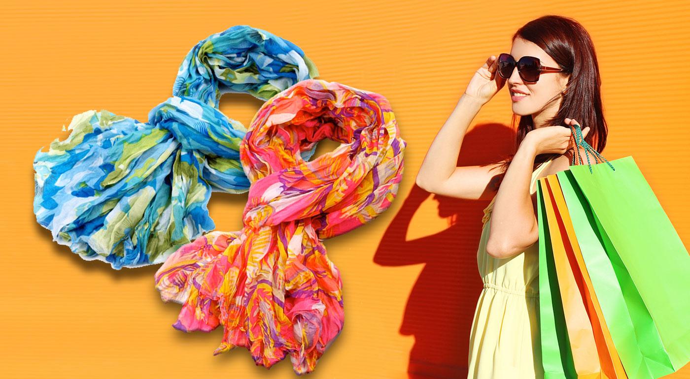 Krčený šál pre dámy MULTICOLOR - výber z dvoch farieb