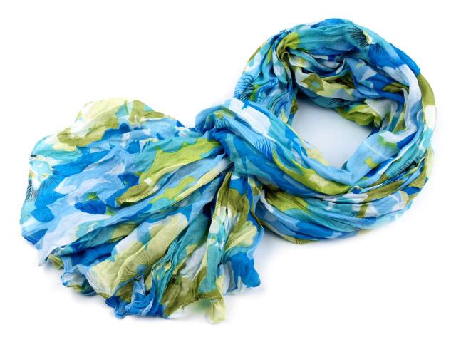 Dámsky šál krčený: modrá multicolor