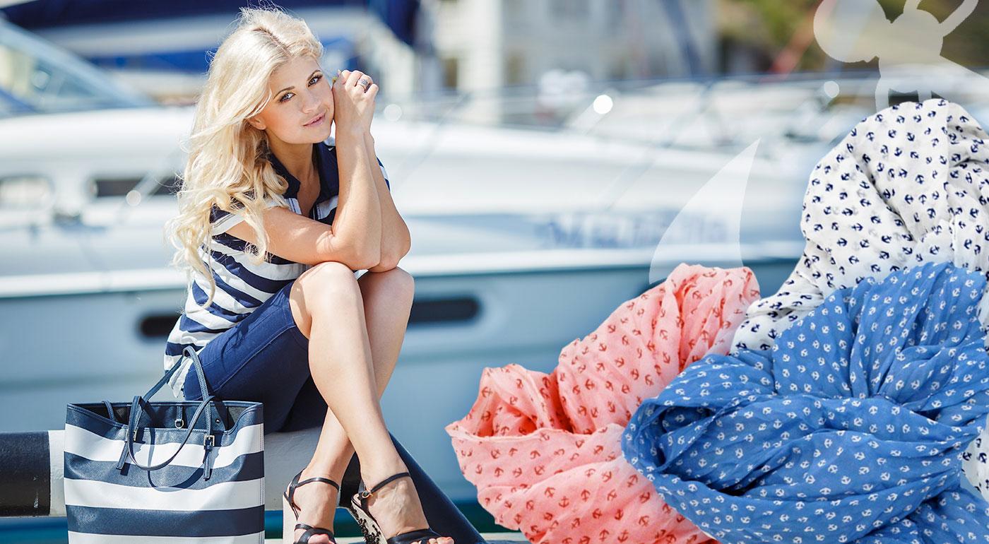 Moderná námornícka šatka s kotvičkami pre všetky dámy - až v 6 farbách!