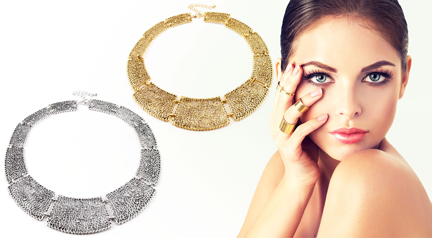 Moderné masívne náhrdelníky s prepracovanými detailami