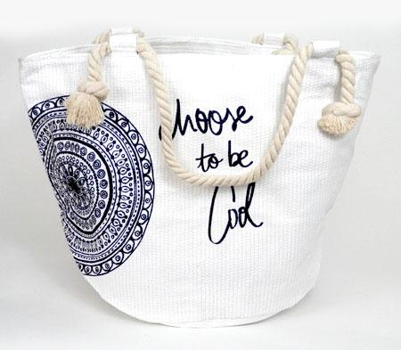 Dámska plážová taška s kruhom - biela