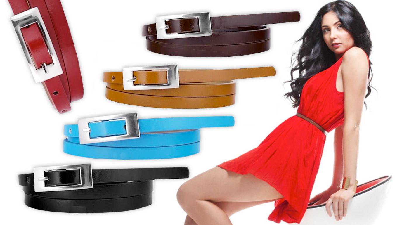Kvalitné dámske opasky v tenkom koženkovom dizajne