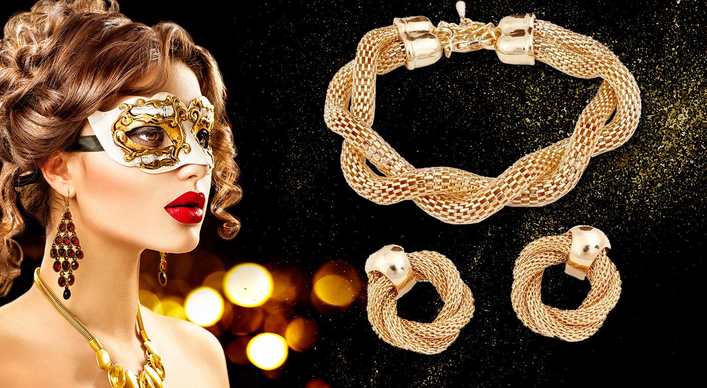 Trendy dámsky 4-dielny set šperkov v zlatej farbe