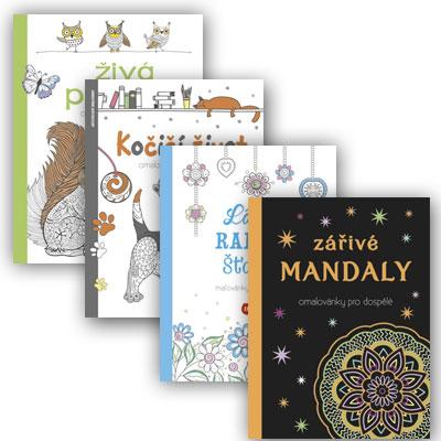 Štvorbalenie antistresových omaľovánok Živá příroda, Kočičí život, Láska, radosť, šťastie a Zářivé mandaly