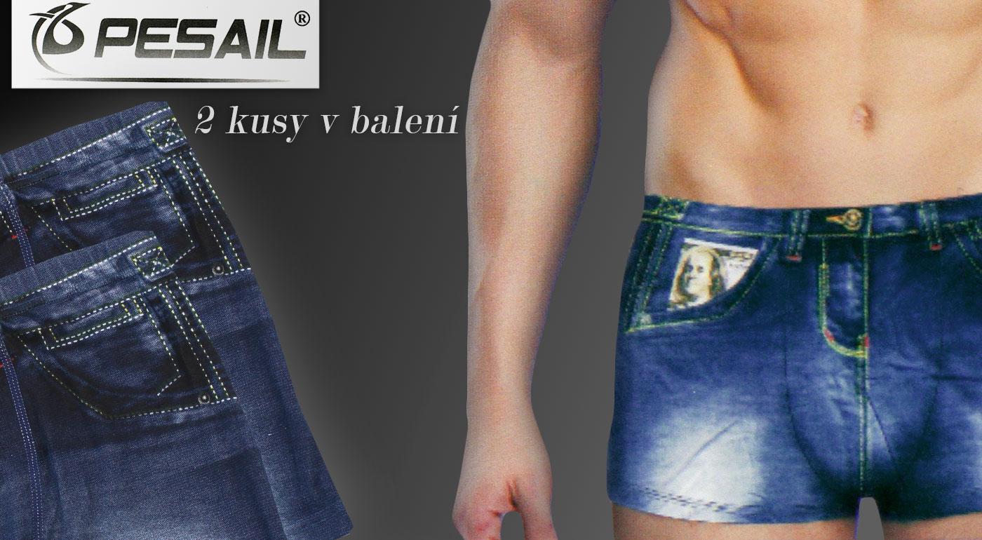 Štýlové pánske boxerky s imitáciou riflí