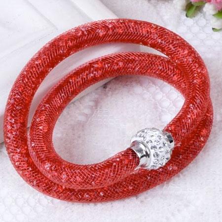 Dámsky dutinkový náramok - červený
