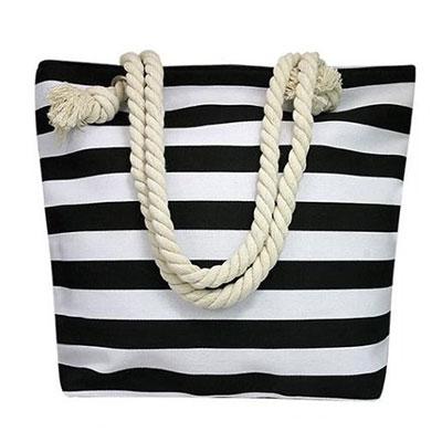 Plážová taška vzor: čierne pásiky