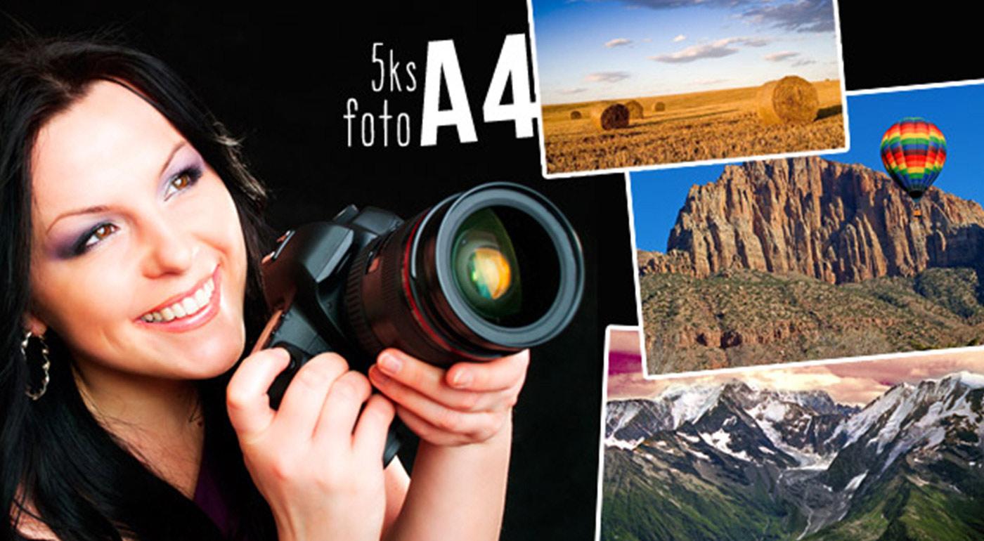 Vyvolanie 5 fotografií vo formáte A4 na kvalitnom lesklom fotopapieri 220g vrátane poštovného a balného v rámci SR
