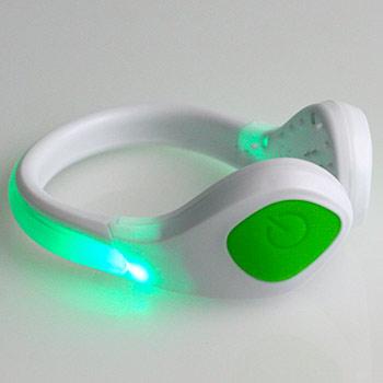 LED bezpečnostné svetlo na topánky: biely klip + zelené svetlo