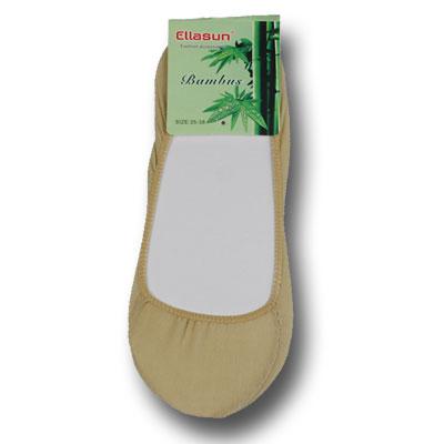 Dámske bambusové ponožky do balerínok - 5 párov - telová farba