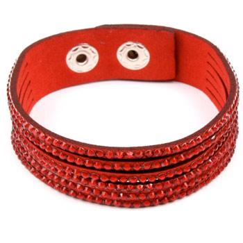 Dámsky náramok s kamienkami - červený