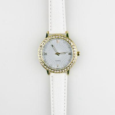 Dámske hodinky s koženkovým remienkom - biele