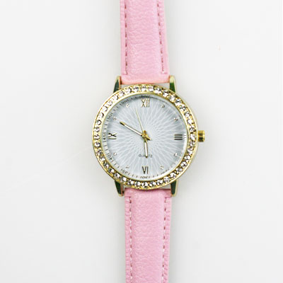 Dámske hodinky s koženkovým remienkom - ružové
