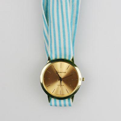 Dámske hodinky s látkovou šatkou - tyrkysové