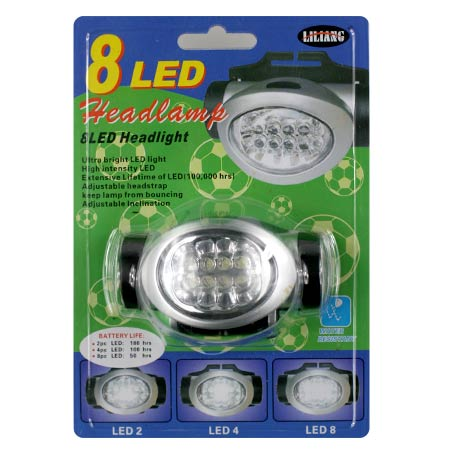Čelová lampa 8 LED