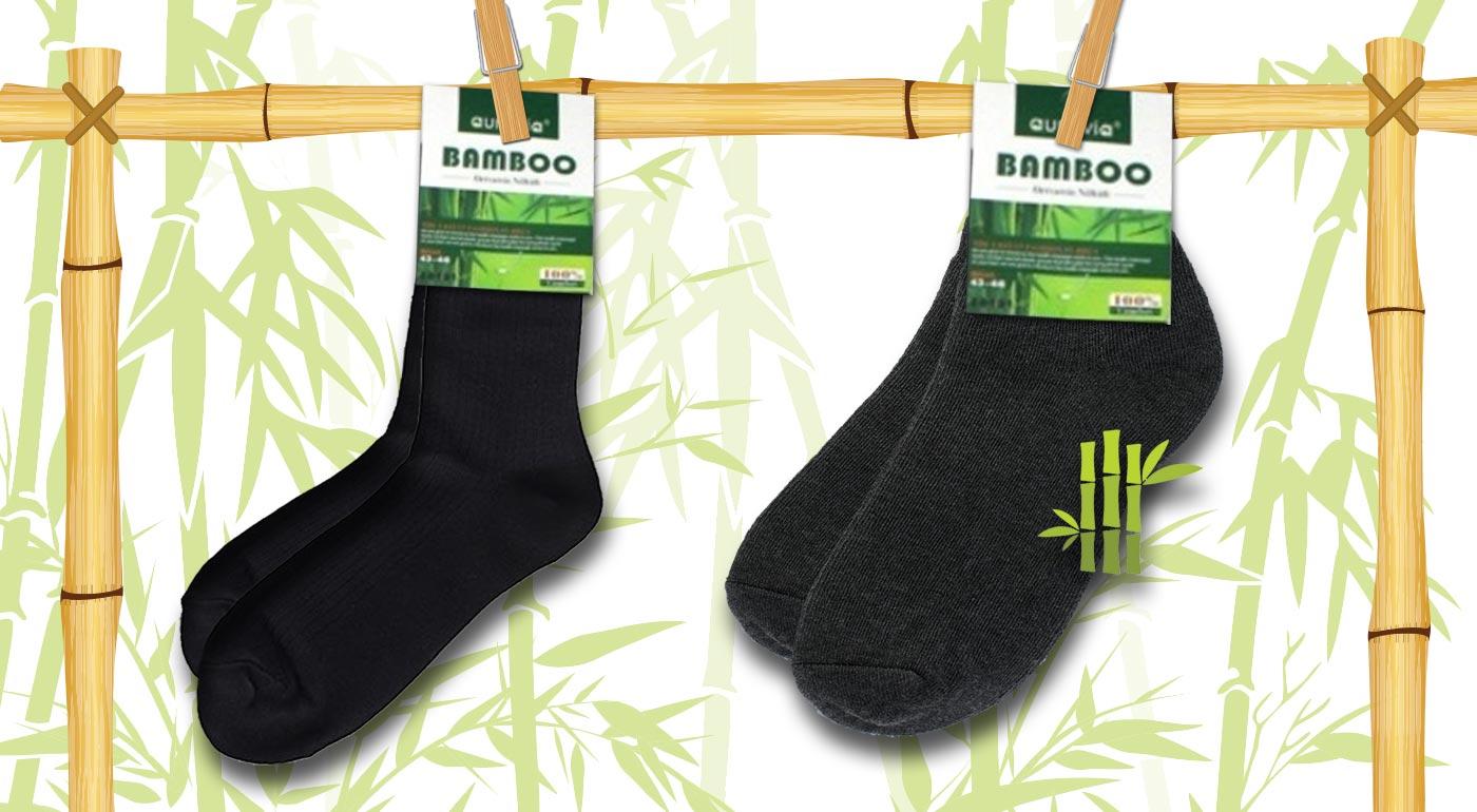 Klasické bambusové ponožky - 6 párov - čierna farba