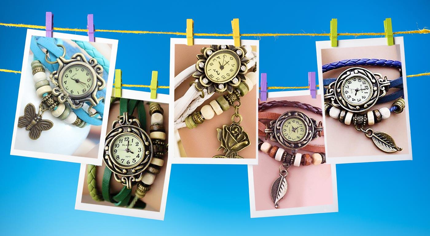 Dámske vintage hodinky so zdobeným remienkom