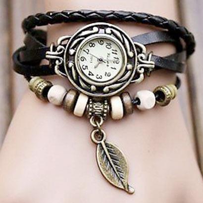 Retro hodinky s listom, farba čierna