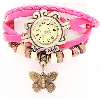 Retro hodinky s motýlikom, farba ružová