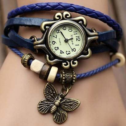 Retro hodinky s motýlikom, farba modrá