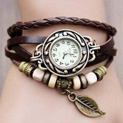 Retro hodinky s listom, farba hnedá