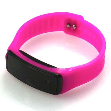 Silikónové hodinky s LED displejom - farba tmavoružová