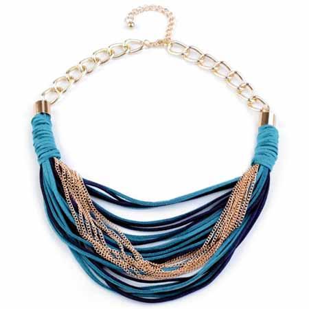 Náhrdelník z kožených remienkov a kovových retiazok - tyrkysová farba
