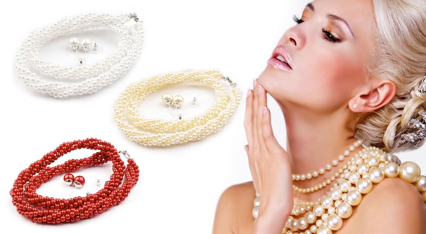 Náhrdelník a náušnice z perál nádherne oživia vašu krásu