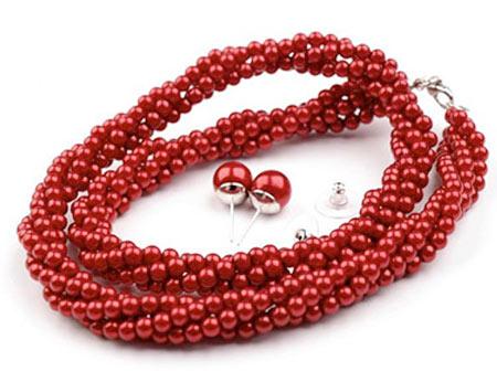 Set voskovaných perál - náhrdelník, náušnice, č.5, farba: červená