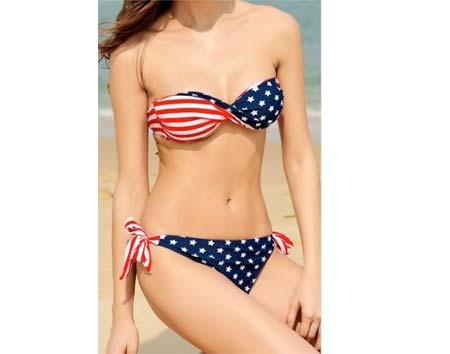 Dámske plavky s motívom americkej vlajky - veľkosť M (obvod podprsenky 75 -  95 cm 6475c77d2b