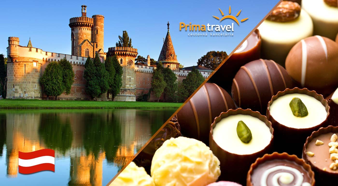 Odhaľte tajomstvo čokolády v rakúskej továrni Hauswirth a navštívte zámok cisárovnej Sissi v Laxenburgu