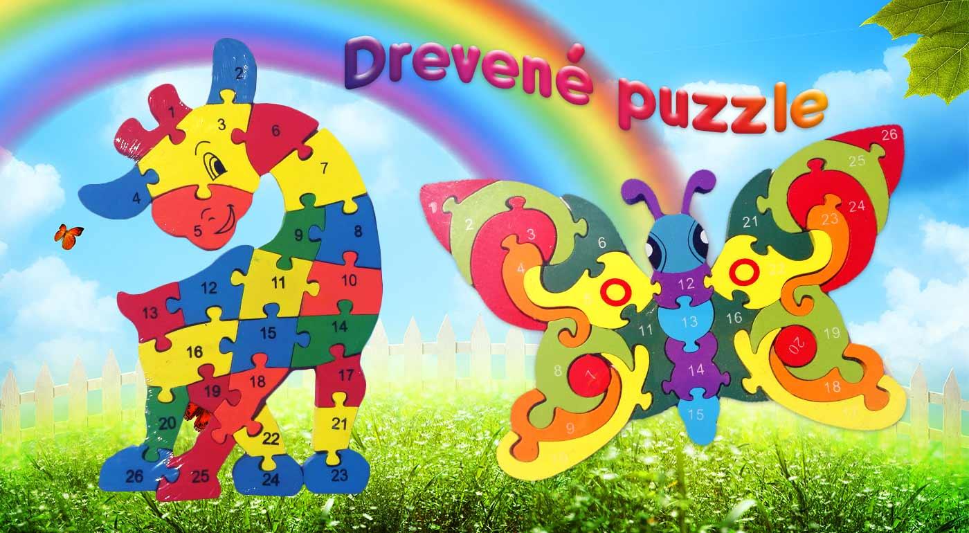 Farebné drevené puzzle pre deti v rôznych motívoch