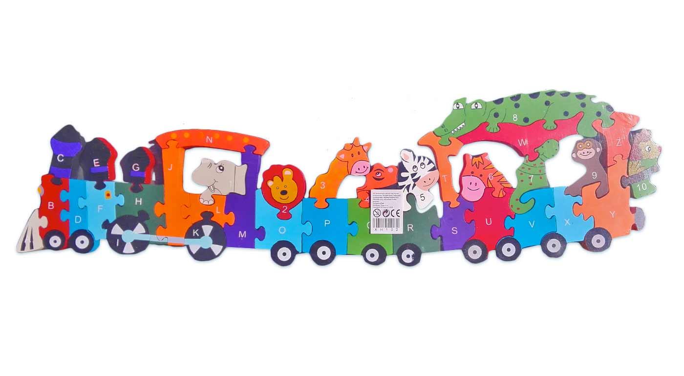 Drevené puzzle - vlak so zvieratkami
