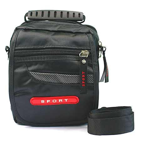 Malá pánska taška - farba čierna s červeným štítkom