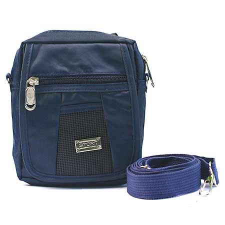 Malá pánska taška - farba modrá so strieborným štítkom