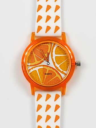 Dámske hodinky - oranžovo-biele