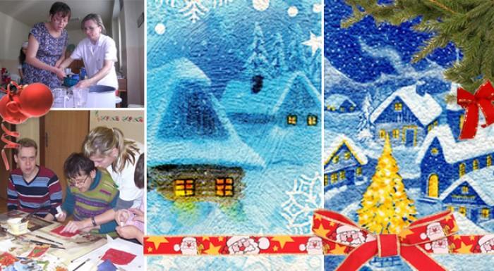 Vianočné a novoročné ručne vyrábané pozdravy od ťažko zdravotne postihnutých detí. Podporme spolu dobrú vec.