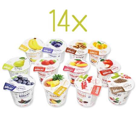 Zdravé raňajky na 14 dní - príchute: 2 x ananás, goji, hruška, jablko, jahoda, mango, 2 x marhuľa, slivka, vlašský orech, banán, chia, čučoriedka