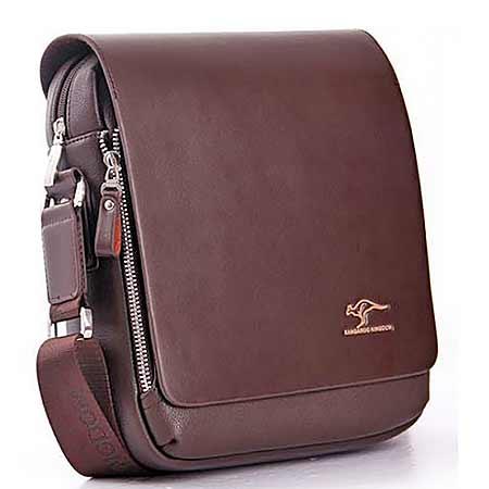 52dac827473cf Pánska kožená taška Kangaroo Kingdom - farba tmavohnedá